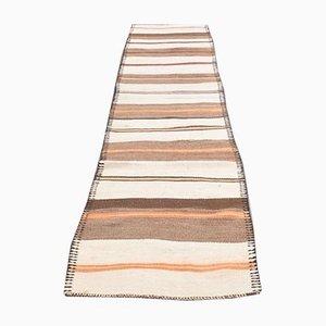 Vintage Turkish Handmade Wool Oushak Kilim Flatweave Runner with White Stripes