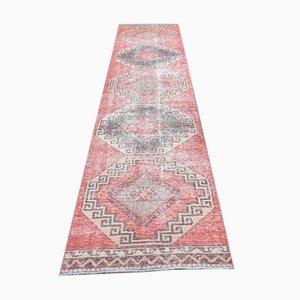 Vintage Turkish Handmade Wool Oushak Runner Rug in Red