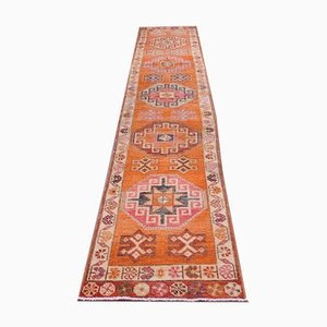 Vintage Turkish Handmade Orange Wool Oushak Runner Rug