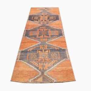 Vintage Turkish Handmade Wool Oushak Runner Rug in Orange