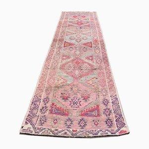 Vintage Turkish Oriental Hand-Knotted Pink Wool Oushak Runner