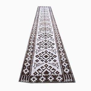 Long Vintage Turkish Handmade White Wool Oushak Runner