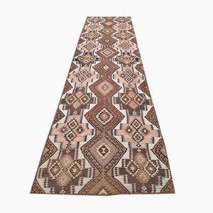 Vintage Turkish Handmade Wool Flatweave Oushak Kilim Runner Rug