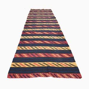 Vintage Turkish Handmade Red Wool Flatweave Oushak Kilim Runner Rug
