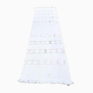 Vintage Turkish Handmade Wool Oushak Kilim Runner Rug in White