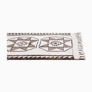 Vintage Turkish Handmade White Wool Runner Rug