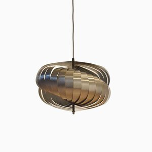 Vintage Silver Spiral Pendant Lamp by Henri Mathieu for Lyfa