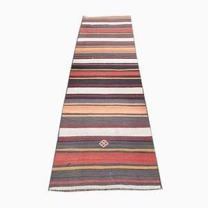 Vintage Handmade Turkish Low Pile Oushak Runner in Wool with Stripes