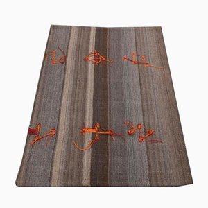 Vintage Handmade Turkish Brown Wool Oushak Mat