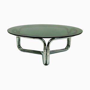 Round Italian Space Age Chrome and Smoked Glass Coffee Table by Giotto Stoppino