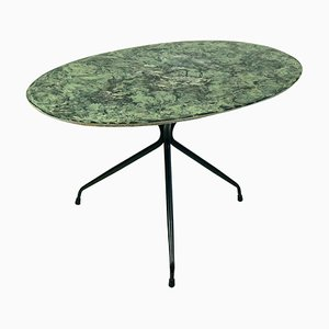 Mid-Century Italian Oval Cocktail or Coffee Table with Faux Green Marble Top