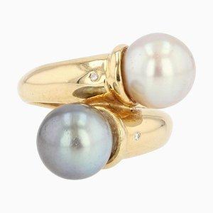 Modern Diamonds , White and Gray Pearl Duo Ring in 18 Karat Yellow Gold