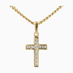 Ciondolo moderno a forma di croce con diamanti e catena in oro giallo 18 carati
