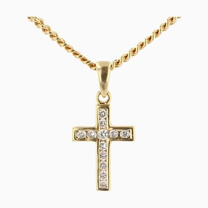 Pendentif Croix Moderne en Diamant et Chaîne en Or Jaune 18 Carats
