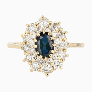Französischer Moderner Saphir Doppelreihiger Diamanten Ring aus 18 Karat Gelbgold