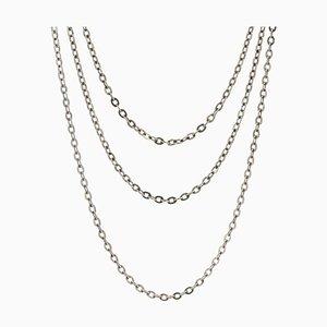 Collar largo de cadena de plata del siglo XX