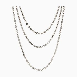 Long 20th Century Silver Chain Necklace