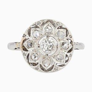 Diamonds Round Openwork Ring in 18 Karat White Gold, 1925s