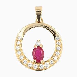 Pendentif et chaine moderne avec rubis et diamants en or jaune 18 carats