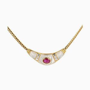 French Modern Mother of Pearl and Ruby Necklace in 18 Karat Yellow Gold