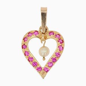 Modern Cultured Pearl Heart-Shaped Pendant in 18 Karat Yellow Gold