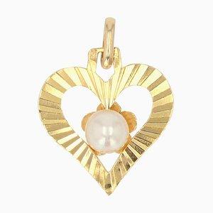 Pendentif en Forme de Coeur avec Perle de Culture Moderne en Or Jaune 18 Carats
