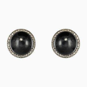 20th Century Hematite, Diamonds and Platinum Stud Earrings in 18 Karat Yellow Gold