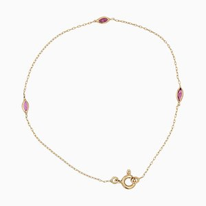 Thin Modern Ruby 18 Karat Yellow Gold Bracelet