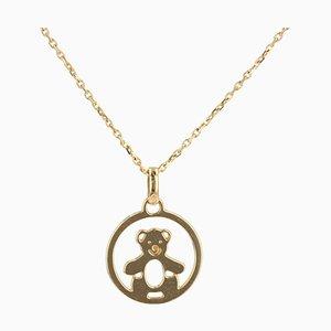 Modern 18 Karat Yellow Gold Bear Cub Pendant and Chain