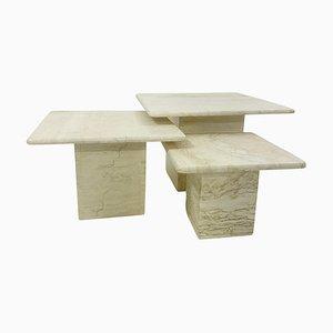 Mid-Century Travertine Nesting Tables, Italy, 1970s, Set of 3