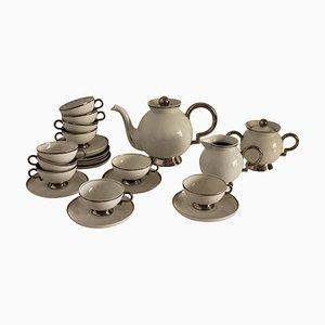 Art Deco White Porcelain Tea Set by Gio Ponti for Richard Ginori, Italy 1932, Set of 27