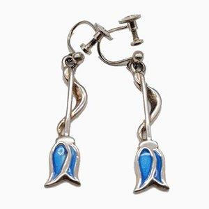 Silber Blau Emaille Carrick Jugendstil Ohrringe