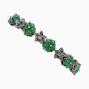 9 Karat Rose Gold and Silver Bracelet with Green Agate Flowers, Emeralds & Diamonds