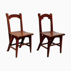 Catalan Modernist Wooden Chairs, 1920s, Set of 2
