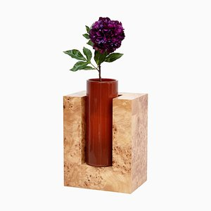 Y Limited Edition Flower Vase in Wood and Murano Glass by Ettore Sottsass