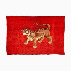 Antiker chinesischer handgeknüpfter Pao Tou Tiger Wollteppich, 1900er