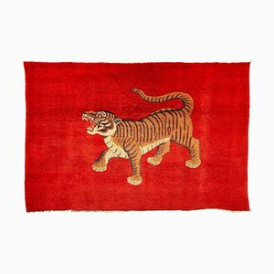 Antique Chinese Hand-Knotted Pao Tou Tiger Wool Rug, 1900s