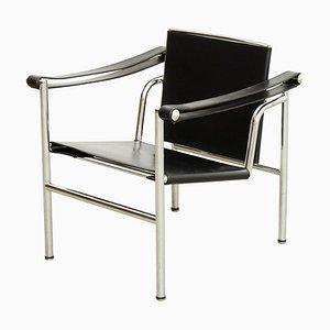 Schwarzer LC1 Ledersessel von Le Corbusier, Pierre Jeanneret & Charlotte Perriand