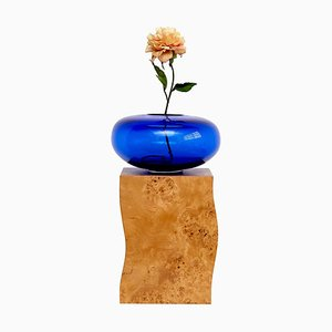 Q Limited Edition Vase in Wood and Murano Glass for Flowers by Ettore Sottsass
