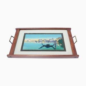 Antikes Tablett aus Glas und Holz mit Landschaft in Venedig, 1930er