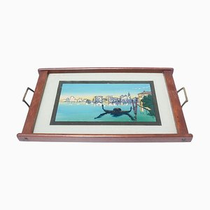 Antique Glass and Wood Tray with Venice Landscape, 1930s