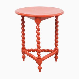 Antique French Red Painted Wood Table, 1930s