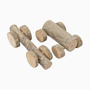 Luci, Sculture in legno, 2018, set di 2