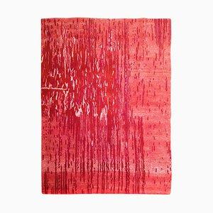 Großer tibetischer handgeknüpfter Teppich aus Wolle & Seide in Rot, 2007er