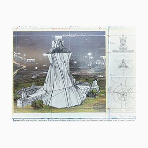 Christo, Wrapped Fountain, Lithograph-Collage