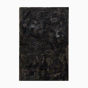 Großes modernes abstraktes schwarzes Mix-Media Gemälde von Adrian