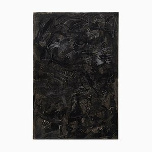 Large Contemporary Abstract Black Mix-Media Painting by Adrian