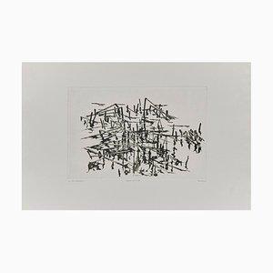 Schwarze und weiße abstrakte Radierung von Unknown Artist, Holland, 1980er