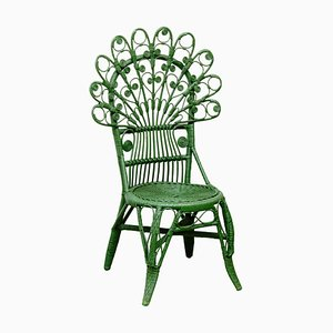 Mid-Century Modern Bamboo and Rattan Chair in Green, 1960s