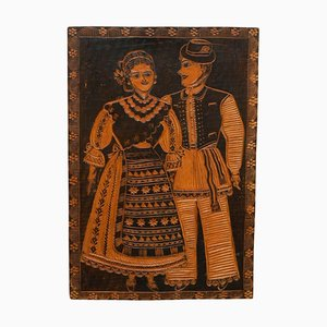 Traditional Rustic Carved Wood Artwork, Spain, 1920s